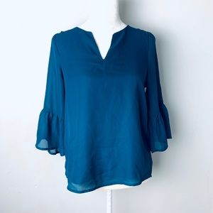 Blue rain bell sleeve teal blouse extra small